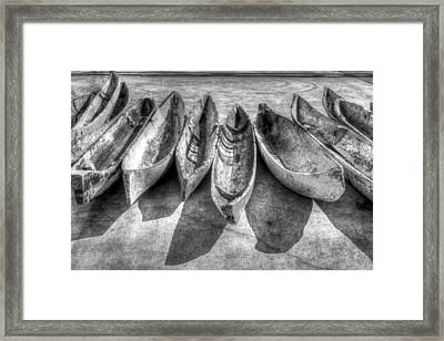 Canoes In Black And White Framed Print