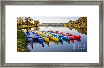 Framed Print featuring the photograph Canoes In The Early Morning II by Kari Yearous