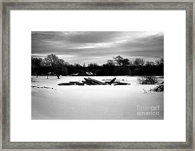 Canoes In The Snow - Monochrome Framed Print