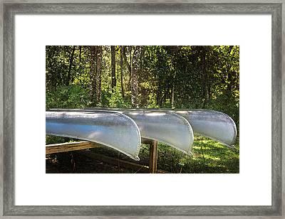 Canoes Framed Print by Judy Hall-Folde