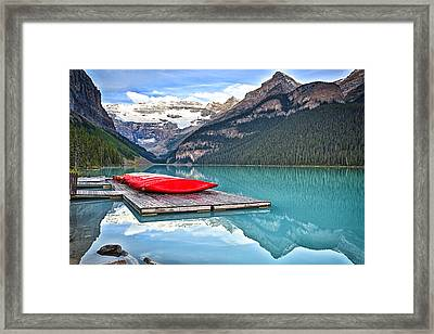 Canoes Of Lake Louise Alberta Canada Framed Print