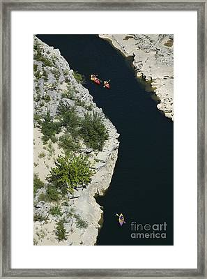 Canoes On The River Ardeche In Southern France Framed Print