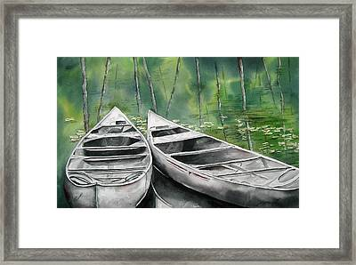 Framed Print featuring the painting Canoes To Go by Mary McCullah