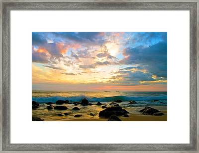 Canoes Under The Setting Sun Framed Print by Joshua Marumoto