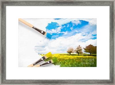 Canola Field In Summer Framed Print by Amanda Elwell