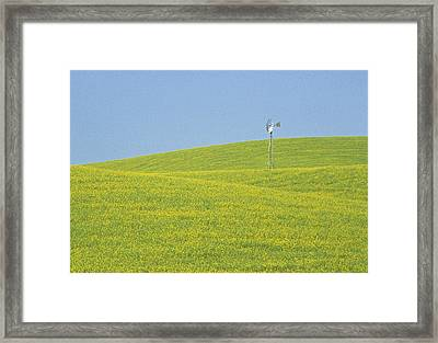Canola Windmill Framed Print by Latah Trail Foundation