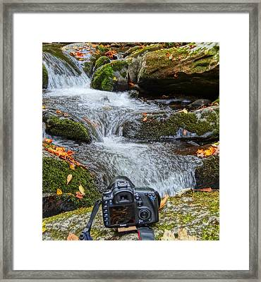 Waterfall And Camera Framed Print