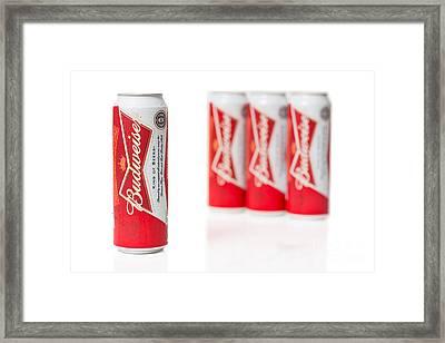 Cans Of Budweiser Beer Framed Print