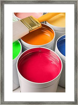 Cans Of Colored Paint Framed Print by Garry Gay