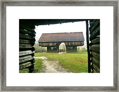 Cantilever Barn In Smokey Mtn Natl Pk Framed Print