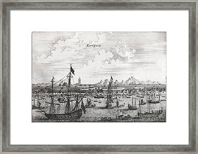 Canton Harbor, 17th Century Artwork Framed Print