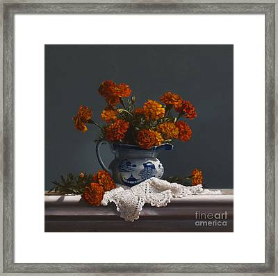 Canton Pitcher With Marigolds Framed Print by Larry Preston