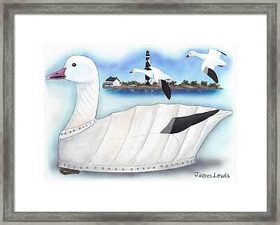Canvas Snow Goose Decoy Framed Print