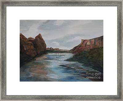 Framed Print featuring the painting Canyon De Chelly by Ellen Levinson