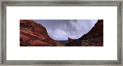 Canyon Entrance Distant Storm Framed Print by Maria Arango Diener