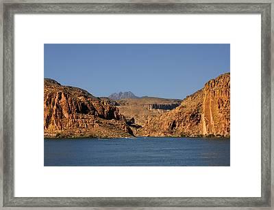Canyon Lake Of Arizona - Land Big Fish Framed Print by Christine Till