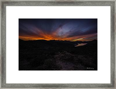 Canyon Lake Sunset Framed Print by Bill Cantey