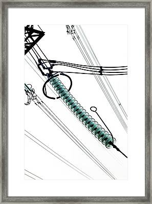 Cap And Pin Glass Insulator String Framed Print by Cordelia Molloy
