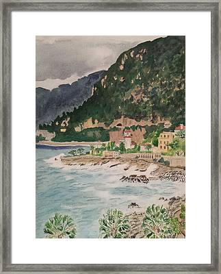 Cap D'ail During The Storm Framed Print