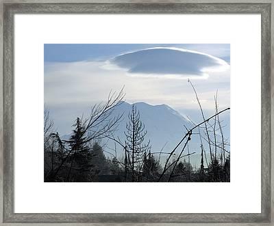 Cap Over Mt. Rainier Framed Print