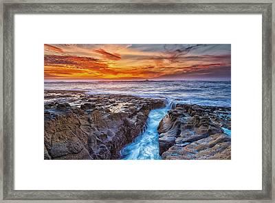 Cape Arago Crevasse Hdr Framed Print by Robert Bynum