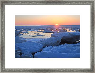 Cape Cod Bay Ice Sunset Framed Print by John Burk