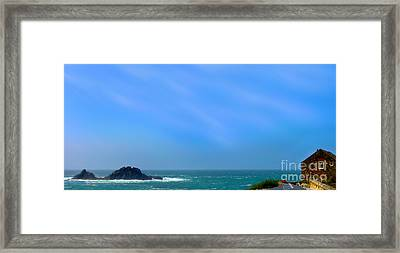 Cape Cornwall And The Brisons Rock Framed Print by Linsey Williams