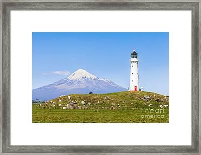 Cape Egmont Lighthouse And Taranaki Framed Print