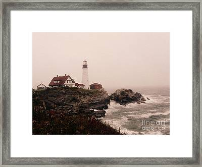 Cape Elizabeth In The Mist Framed Print by Patricia Januszkiewicz