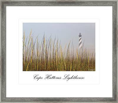 Cape Hatteras Lighthouse In The Fog Framed Print by Tony Cooper