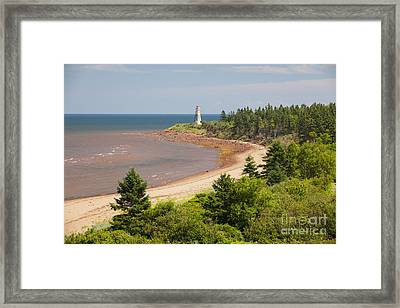 Cape Jourimain Lighthouse In New Brunswick Framed Print by Elena Elisseeva