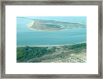 Cape Lookout Lighthouse From The Air Framed Print