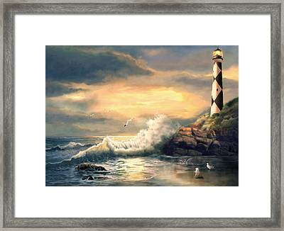 Cape Lookout Lighthouse North Carolina At Sunset  Framed Print