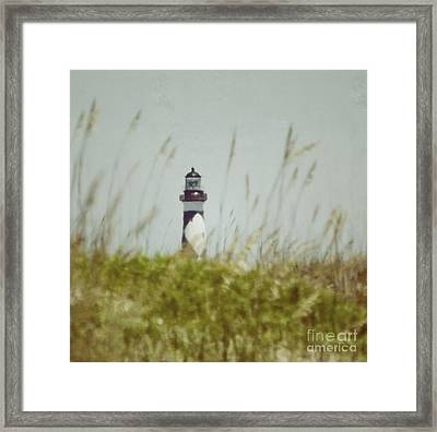 Framed Print featuring the photograph Cape Lookout Lighthouse - Vintage by Kerri Farley