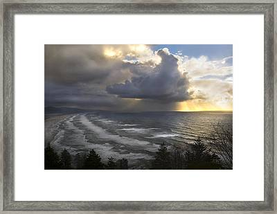 Sunset At Cape Lookout Oregon Coast Framed Print by Yulia Kazansky