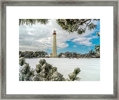 Cape May Light Thru Snowy Trees Framed Print