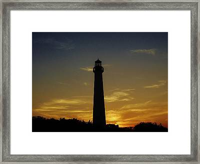 Cape May Lighthouse At Sunset Framed Print by Ed Sweeney