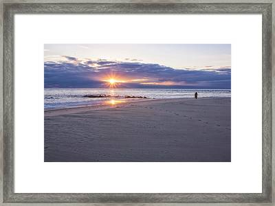 Cape May Point Winter Sunset Framed Print by Tom Singleton