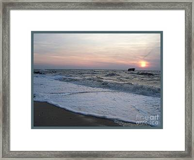 Cape May Sunset Beach Nj Framed Print by Eric  Schiabor