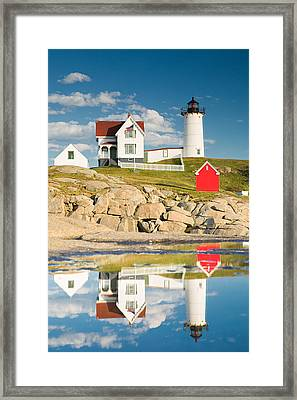 Cape Neddick Light  Reflections Framed Print