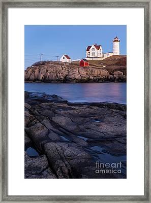 Cape Neddick Lighthouse Along Maine's Rocky Shores York Beach Maine  Framed Print
