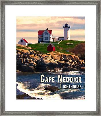 Cape Neddick Lighthouse  At Sunset  Framed Print by Elaine Plesser