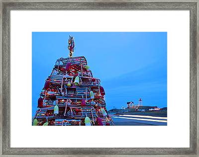 Cape Neddick Lighthouse Christmas Framed Print by Randy Duchaine