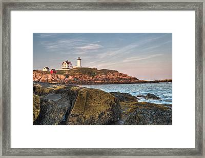 Cape Neddick Lighthouse From The Rocks Framed Print by At Lands End Photography