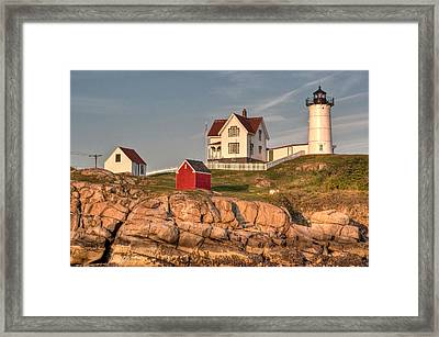Cape Neddick Lighthouse In Evening Light 2 Framed Print by At Lands End Photography