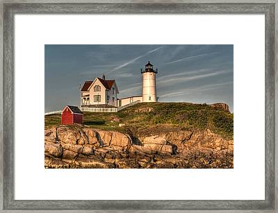 Cape Neddick Lighthouse In Evening Light Framed Print by At Lands End Photography