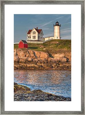 Cape Neddick Lighthouse In Evening Light - Portrait Framed Print by At Lands End Photography