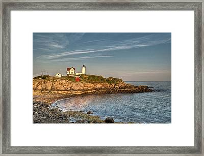 Cape Neddick Lighthouse Island In Evening Light Framed Print by At Lands End Photography