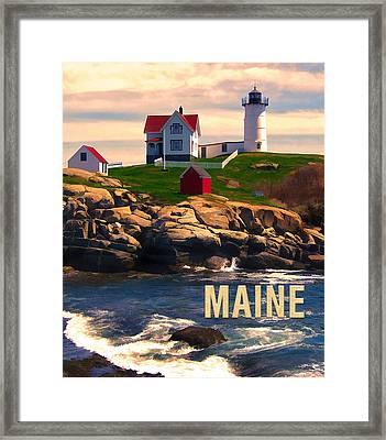 Cape Neddick Lighthouse Maine  At Sunset  Framed Print by Elaine Plesser