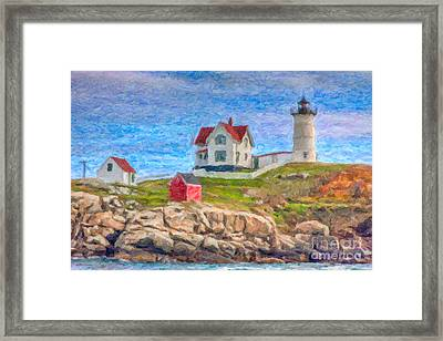 Cape Neddick Nubble Lighthouse Impasto Framed Print by Clarence Holmes